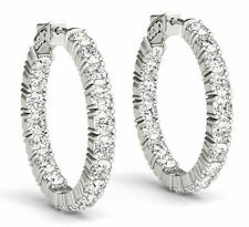 Hoop Earring 18 x 0.40 ct 0.60 inch 7.21 carat Round cut Diamond 14k White Gold