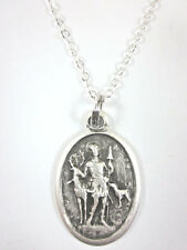 "St Hubert Medal Italy Pendant Necklace 20"" Chain Gift Box & Prayer Card"