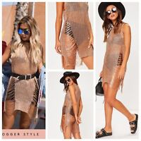 Metallic Chain Fine Knit Distress Cover Up Dress in Rose Gold (RRP £44.99)