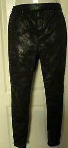 Hue Distressed Metallic Leggings solid Size Medium  U18685H Black
