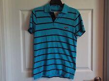 EUC Hollister Mens S short sleeve polo. turquoise/navy, 100% cotton
