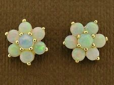 E058 Genuine 9ct White Gold Natural Opal Blossom Cluster Stud Earrings