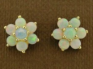 E058 Real 9K Yellow Gold Natural Opal Blossom Cluster Stud Earrings October