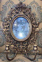 """Antique Syroco Grapevine  Oval Mercury Glass Wall Mirror and Sconce 14""""x 20"""""""