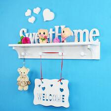 White Sweet Home Wall Mounted Shelf Display Hanging Book Rack Storage Holder Art
