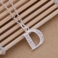 925 Sterling Silver LETTER D Austrian  Crystal Pendant Charm Necklace Chain Gift