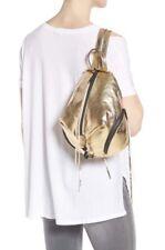 REBECCA MINKOFF Julian Leather Backpack Medium Bag Gold Metallic Shoulder NEW