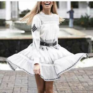 ZARA BLACK WITE EMBROIDERED DRESS ASO ALEXIS ROSE BLOGGERS XS
