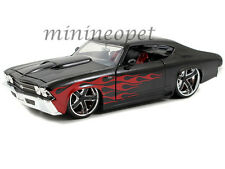 JADA BIGTIME 90056 1969 69 CHEVY CHEVELLE SS 1/24 DIECAST BLACK with RED FLAMES