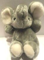 """Lemonwood Gray Plush Elephant With Trunk Up Black Eyes 8"""" Tall"""