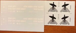 DECAL FOR Z SCALE AMTRAK F59PHI STAY OFF!  STAY AWAY!  STAY ALIVE!  LOCOMOTIVE