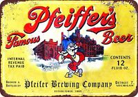 """Pfeiffer's Beer Brewing Company Vintage Rustic Retro Metal Sign 8"""" x 12"""""""