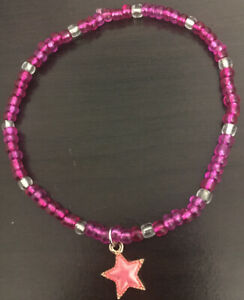 Womens Girls Star Anklet, Magenta Hot Pink Beaded Stretch Bracelet, Summer Gift