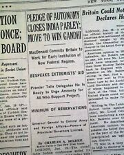 MAHATMA GANDHI Ends First Round Table Conference INDIA & Britain 1931 Newspaper