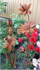 Iron Cut Metal Flower Plant Stake Set/4 Garden Landscape Lawn Yard Outdoor Decor