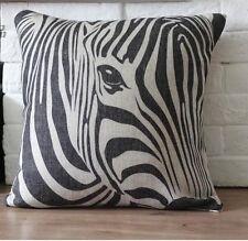 Vintage Cotton Linen Cushion Cover Pillow Case Zebra