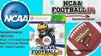 XBOX 360 NCAA 14 FOOTBALL ROSTERS  2018 - 2019 SEASON  NO GAME 18 -19