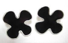 SoHo® Ohrstecker Blume retro resin Kunstharz schwarz black gothic altsilber