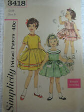 VTG Simplicity Toddler Girls Party Dress Pattern 3418