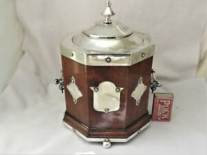 LARGE VICTORIAN OCTAGONAL OAK & SILVER PLATED BISCUIT BARREL / ICE BUCKET