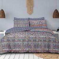Duvet Set Cover - King Size Bedset Cotton Navy BoHo Design Bedding Set Revesible