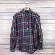 RALPH LAUREN Men's Classic Fit Flannel Button Front Shirt M Medium Blue Plaid