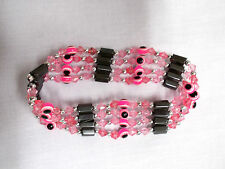 NEON PINK EVIL EYE & MAGNETIC HEMATITE BEADED STRAND WRAP BRACELET OR NECKLACE