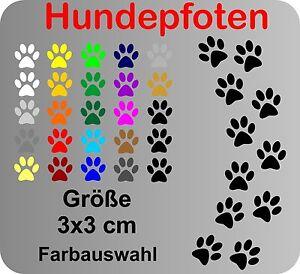 12 Hundepfoten Pfoten Hund Aufkleber Auto Wandtattoo Fliesen Flohmarkt 3x3cm