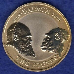 Great Britain, 2009 Proof £2, 2 Pound Coin, Charles Darwin (Ref. t4180)