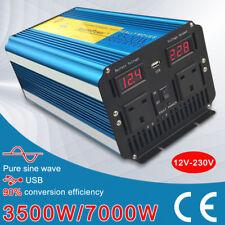 3500W (7000W Peak) Pure Sine Wave Power Inverter Converter DC 12V to AC 230V LED