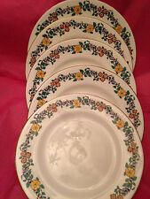 Crown Staffordshire English Bone China, Set of 5 Luncheon Plates, Floral Trim