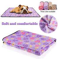Pet Medium Large Paw Print Dog Puppy Cat Warm Fleece Soft Sofa Blanket Beds Mat