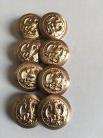 Lot  of 8 Uniform  Buttons...Gold tone Metal...
