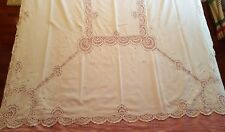 Exquisite Vintage White On White Embroidery Tape Lace Banquet Tablecloth  62x116
