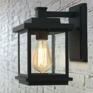 LNC Square 1-Light Black Outdoor Wall Lantern Sconce with Clear Glass Shade