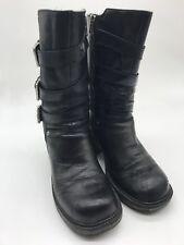 Womens Harley Davidson Black Leather Buckle Biker Boots Size 5.5