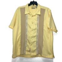 Cubavera Men's Button Down Short Sleeve Embroidered Shirt Size 2XL XXL Yellow