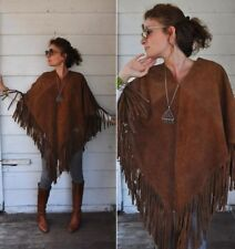 TASHA POLIZZI Womens O/S BROWN Western GENUINE SUEDE Poncho Fringes
