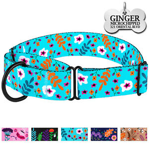 Floral Martingale Collar Training Wide Dog Collars for Dogs Custom Engraved Tag
