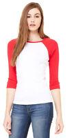 Bella Ladies Baseball Raglan 3/4 Sleeve T-Shirt Womens Cotton TEE S -2XL. B2000
