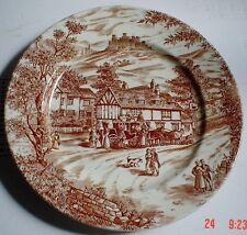 J Broadhurst & Sons England SWAN INN Brown And White Salad Breakfast Plate