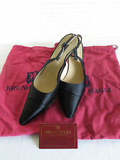 Bruno Magli Womens Size 7B  Black Satin Upper Leather Sole Sling Back Heels