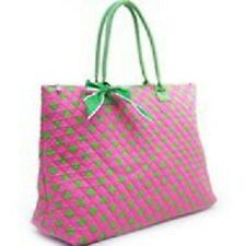 """20""""Large Quilted Polka Dot Tote-Pink-Green-NWT"""