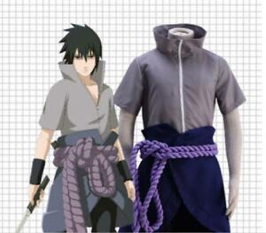 Unisex Anime Uchiha Sasuke Cosplay Uniform Game T-shirt Suit Costume Fancy Dress