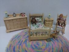 Town Square Dollhouse Miniature  Bedroom Set 4pc Oak