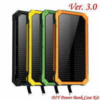Portable 300000mAh Solar Power Bank Case DIY Kit Dual USB Battery Charger W/ LED