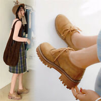 Vintage Womens Brogues Wingtip Chunky Heels Lace-up Leather Shoes Creepers New