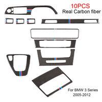 10pcs Real Carbon Fiber Inner Decoration Trim For BMW 3 Series E90/92/93 2005-12