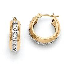14k Yellow Gold Diamond Round Huggy Hinged Hoop Earrings (0.6IN Long)