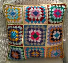 "16"" (41cm) HAND MADE CROCHET CUSHION COVER, MULTI COLOUR - YELLOW EDGE"